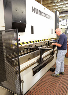 Sheet Metal Models Hurco Press Brake along with assortment of press brakes allows for formation bends on a variety of sheet and plate materials.